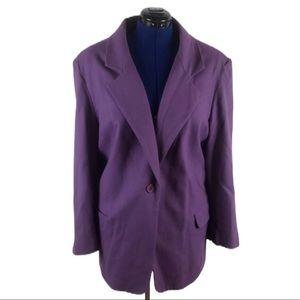 Kristen Blake 22W 100% merino wool purple blazer